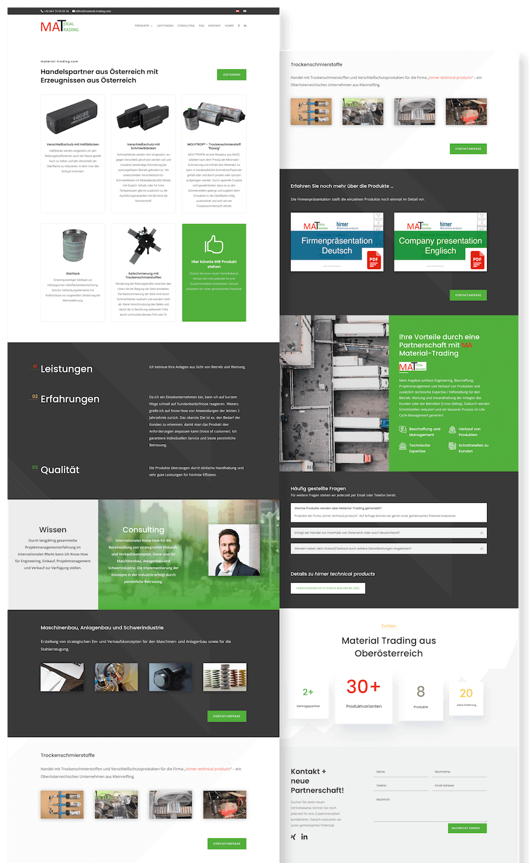 Material Trading Online Business Visitenkarte in der Form einer Onepager Website