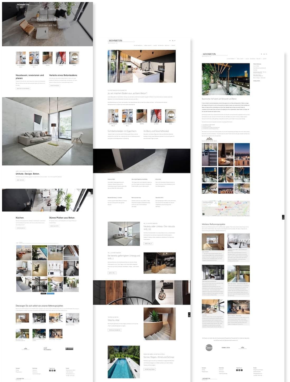 Wohnbeton Webseite von RAABAUKE Web Design und Suchmaschinenoptimierung von Markus Raab