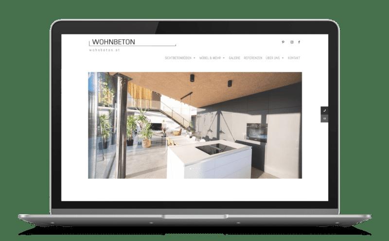 Wohnbeton Mockup Web Design von RAABAUKE Web Design und Suchmaschinenoptimierung von Markus Raab