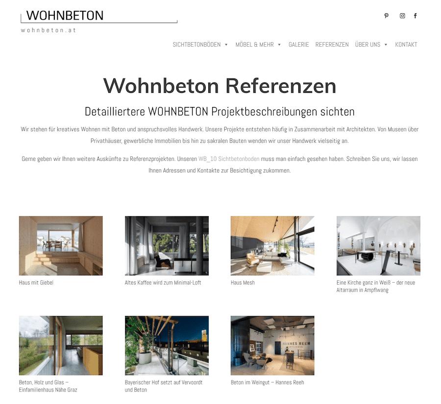 Wohnbeton Referenzen umgesetzt mit Divi Projects von RAABAUKE - Web Design und Suchmaschinenoptimierung von Markus Raab