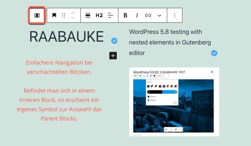 Einfachere Interaktion bei verschachtelten Blocks in Gutenberg ab WordPress 5.8