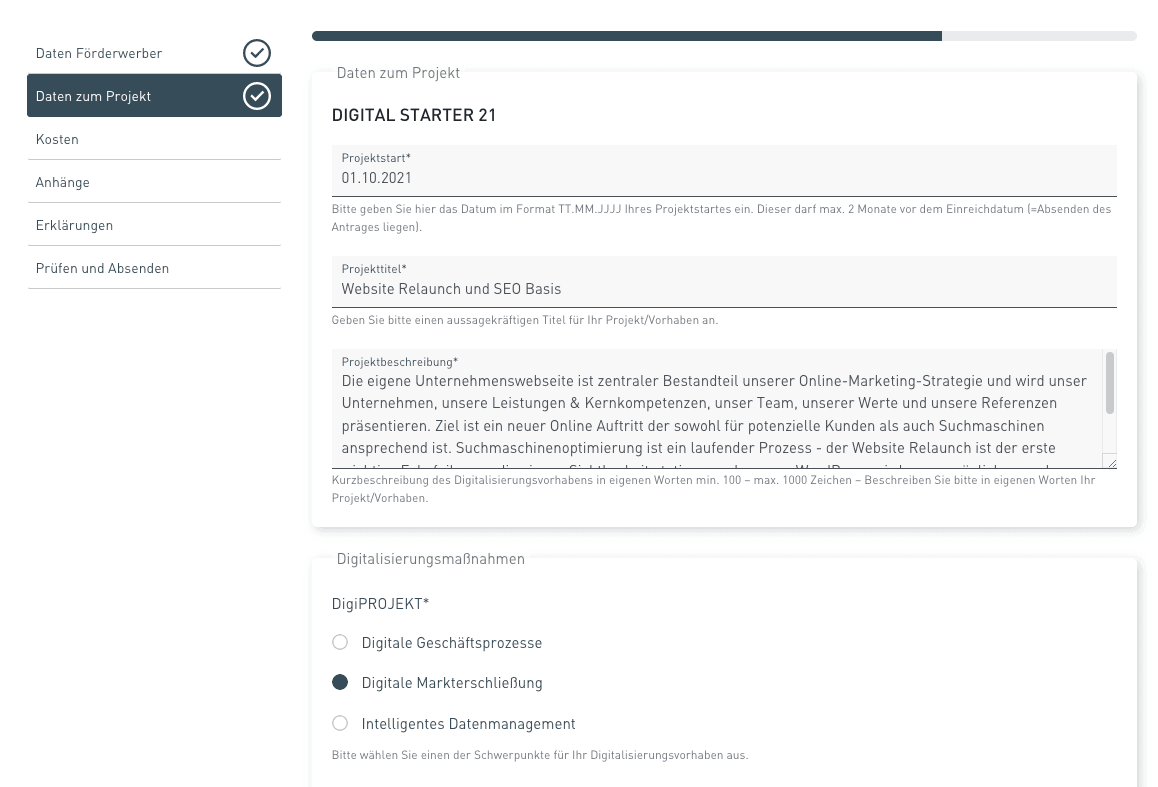 Digital Starter Anleitung zum Antrag stellen für einen Website Relaunch